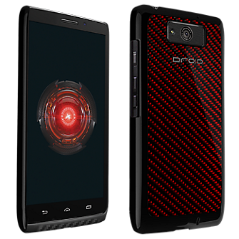 VZW Hard Shell Case Droid MAXX - Carbon Fiber Red