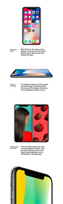 Super Retina Display: With iPhone X, the device is the display. An all-new 5.8-inch Super Retina screen fills the hand and dazzles the eyes. Innovative Technology: The display employs new techniques and technology to precisely follow the curves of the design, all the way to the elegantly rounded corners. OLED Designed for iPhone X: The first OLED screen that rises to the standards of iPhone, with accurate, stunning colors, true blacks, high brightness, and a 1,000,000 to 1 contrast ratio.