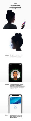 Face ID: A revolution in recognition. Secure Authentication: Your face is now your password. Face ID is a secure new way to unlock, authenticate, and pay. Facial Mapping: Face ID is enabled by the TrueDepth camera and is simple to set up. It projects and analyzes more than 30,000 invisible dots to create a precise depth map of your face. Apple Pay: Face ID is so secure you can use it with Apple Pay. And check out with just a glance.