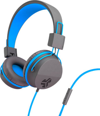 JBuddies Volume Safe Over Ear Headphones with Mic Graphite/Blue