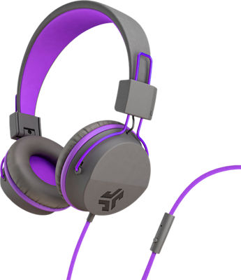 JBuddies Volume Safe Over Ear Headphones with Mic Graphite/Purple
