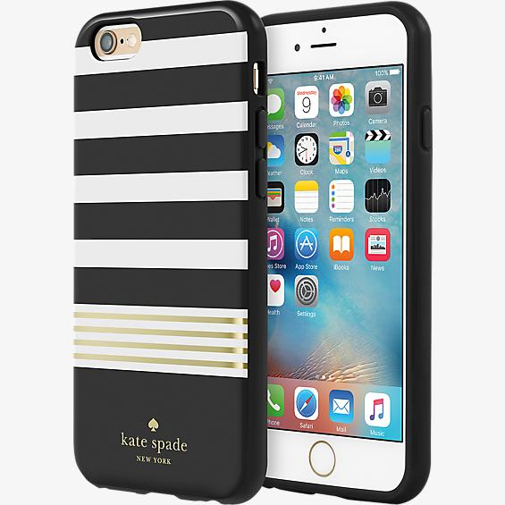 Flexible Hardshell Case for iPhone 6/6s - Stripe 2 Black/White/Gold Foil