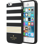 Flexible Hardshell Case for iPhone 5/5s/SE - Stripe 2 Black/White/Gold Foil