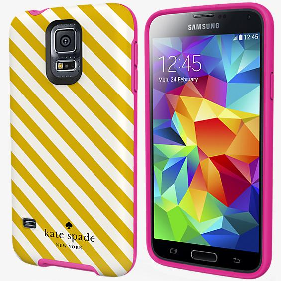 Flexible Hardshell Case for Samsung Galaxy S 5 - Diagonal Stripe
