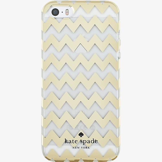 Hardshell Clear Case for iPhone 5/5s/SE - Chevron Gold Foil/Clear