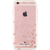 Hardshell Clear Case for iPhone 6/6s - Confetti Dot Rose Gold Foil/Clear