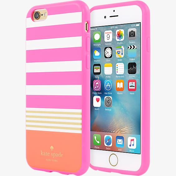 Flexible Hardshell Case for iPhone 6/6s- Stripe 2 Pink/Cream/Gold Foil