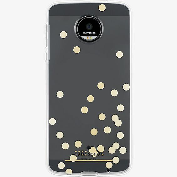Flexible Hardshell Case for Moto Z Droid - Confetti Dot Gold Foil/Clear