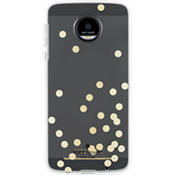 Flexible Hardshell Case for Moto Z Droid - Confetti Dot Gold Foil/Clear