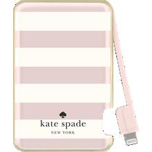 Slim Battery Bank 1500 mAh for Lightning Devices - Candy Stripe, Cream Rose Gold Foil