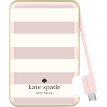 Slim Battery Bank 1500 mAh for MicroUSB Devices - Candy Stripe, Cream Rose Gold Foil