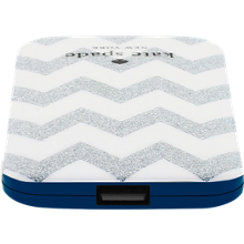 Universal Slim Charging Bank - Chevron Silver Glitter/Cream