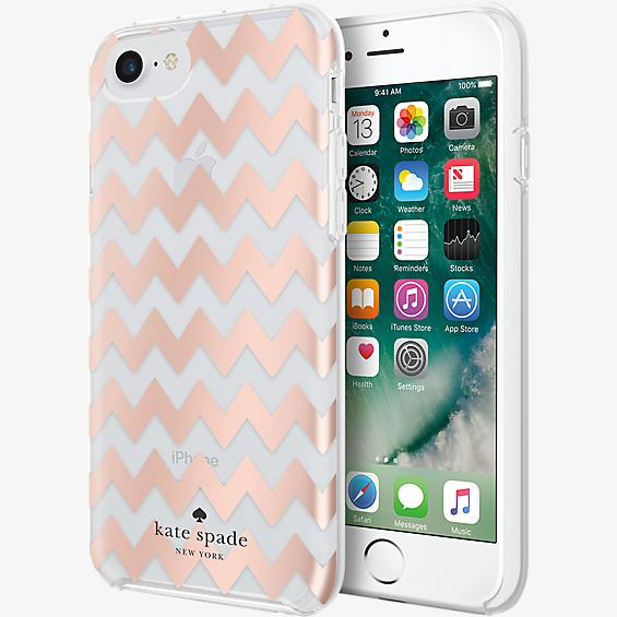 Protective Hardshell Case for iPhone 7 - Chevron Rose Gold Foil/Clear