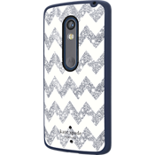 Flexible Hardshell Case for DROID Maxx 2 - Chevron Silver Glitter/Navy