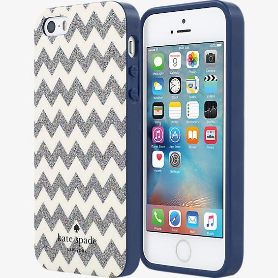 Flexible Hardshell for iPhone SE - Chevron Multi Glitter/Cream