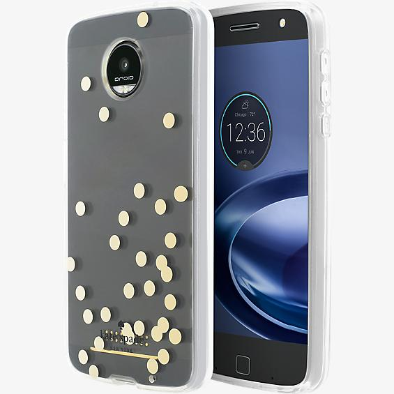 Hardshell Clear Case for Moto Z Force Droid - Confetti