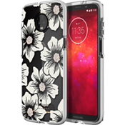 Defensive Hardshell Case for moto z3 - Hollyhock Floral Clear/Cream with Stones