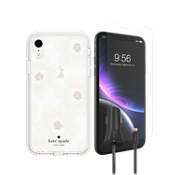 kate spade Defensive Hardshell Case, Protection & Car Charging Bundle for iPhone XR