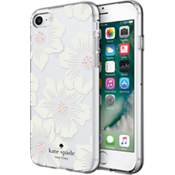 Flexible Hardshell Case for iPhone 7 - Hollyhock Floral Clear/Cream with Stones