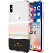 Flexible Hardshell Case for iPhone X - Charlotte Stripe Black/Cream/Blush/Gold Foil