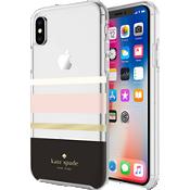 Flexible Hardshell Case for iPhone X - Charlotte Stripe Black/Cream/Blush/Gold Foil