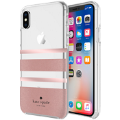 Flexible Hardshell Case for iPhone X - Charlotte Stripe Rose Gold Foil/Rose Gold Glitter