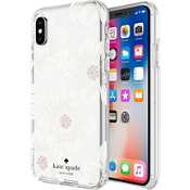 Flexible Hardshell Case for iPhone X - Hollyhock Floral Clear/Cream with Stones