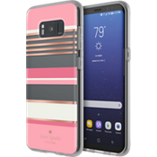 Flexible Hardshell Case for Samsung Galaxy S8 - Berber Stripe Clear/Atlas Pink/Rose Gold Foil/Cream