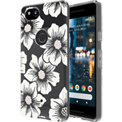 Flexible Hardshell Case for Pixel 2 XL - Hollyhock Floral Clear/Cream with Stones
