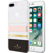 Flexible Hardshell Case for iPhone 8 Plus - Charlotte Stripe Black/Cream/Blush/Gold Foil/Clear