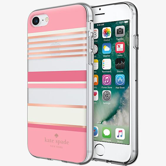 Flexible Hardshell Case for iPhone 7 - Pink Stripe