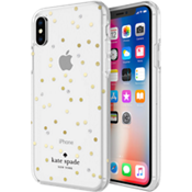 Flexible Hardshell Case for iPhone X - Scatter Dot Gold with Gems