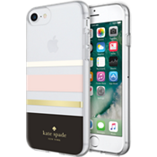 Flexible Hardshell Case for iPhone 8 - Charlotte Stripe Black/Cream/Blush/Gold Foil