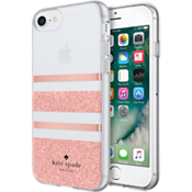 Flexible Hardshell Case for iPhone 8 - Charlotte Stripe Rose Gold Foil/Rose Gold Glitter