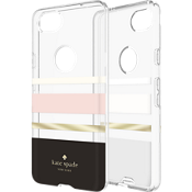 Flexible Hardshell Case for Pixel 2 - Charlotte Stripe Black/Cream/Blush/Gold Foil/Clear
