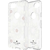 Flexible Hardshell Case for Pixel 2 - Hollyhock Floral Clear/Cream with Stones