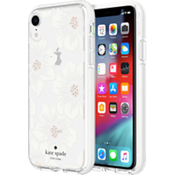 Defensive Hardshell Case for iPhone XR - Hollyhock Floral Clear/Cream with Stones