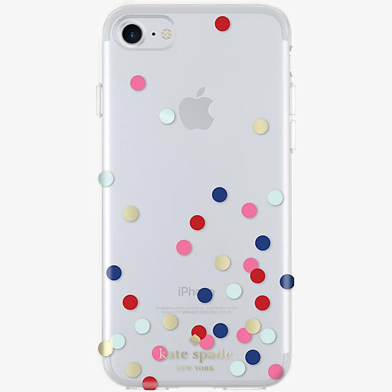 Flexible Hardshell Case for iPhone 7 - Confetti Dot Clear