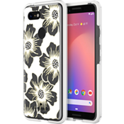 Defensive Hardshell Case for Pixel 3 - Reverse Hollyhock Floral Clear/Cream with Stones