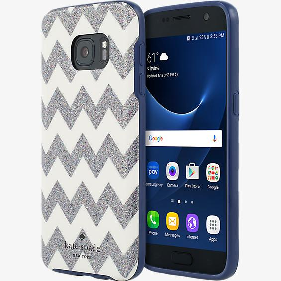 Flexible Hardshell Case for Samsung Galaxy S7 -  Chevron Multi Glitter
