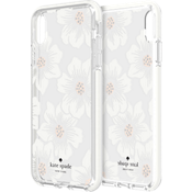Defensive Hardshell Case for iPhone XS Max - Hollyhock Floral Clear/Cream with Stones