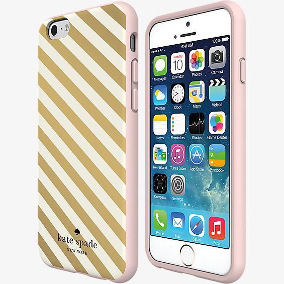 Flexible Hardshell Case for iPhone 6/6s - Gold Diagonal Stripe