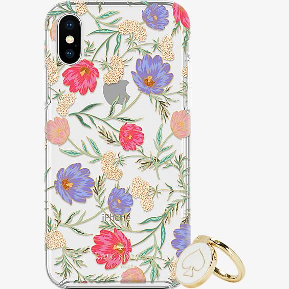 Gift Set: Stability Ring & Protective Hardshell Case for iPhone XS/X - Blossom Multi