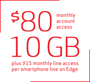 $80 monthly account access for 10 GB plus $15 monthly line access per smartphone line on Edge
