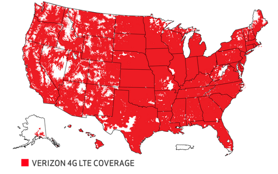 Verizon 4G LTE Coverage Map