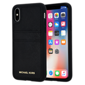 Saffiano Leather Pocket Case for iPhone X - Black