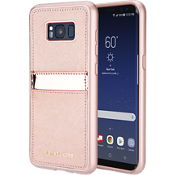Saffiano Phone Cover with Pocket for Galaxy S8+ - Rose Gold