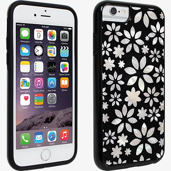 Black and White Flower Mother of Pearl Cover for iPhone 6/6s