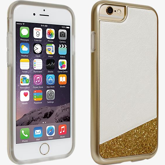 White with Gold Glitter Cover for iPhone 6/6s