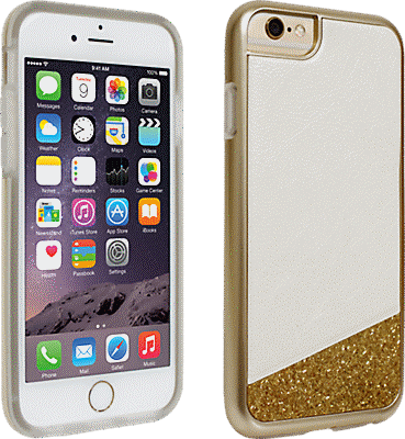 best sneakers 66c98 4ce78 White with Gold Glitter Cover for iPhone 6/6s